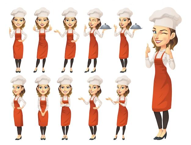 Conjunto de caracteres de chef femenina