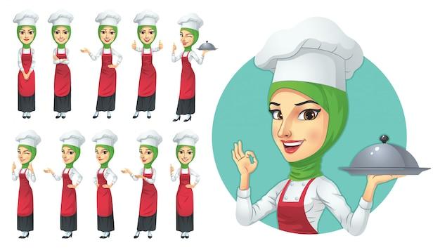 Conjunto de caracteres de chef mujer musulmana