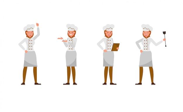 Conjunto de caracteres de chef mujer
