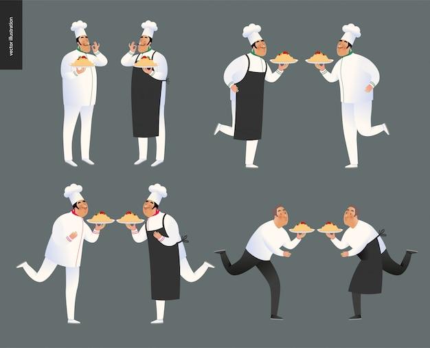 Conjunto de caracteres de chef de restaurante italiano