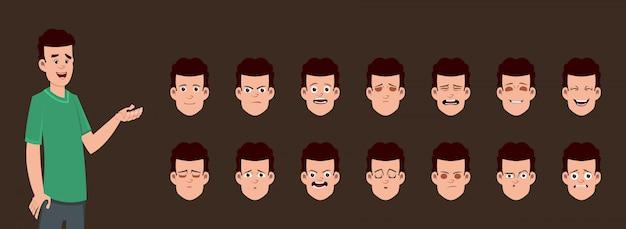 Conjunto de caracteres de chico joven con diferentes expresiones faciales.