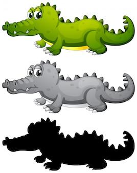 Conjunto de caracteres de cocodrilo.