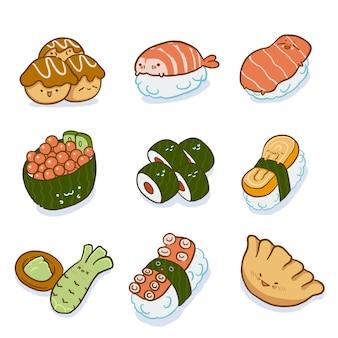 Conjunto de caracteres de comida japonesa