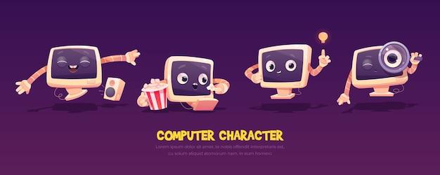 Conjunto de caracteres de la computadora de dibujos animados. lindo pc de escritorio