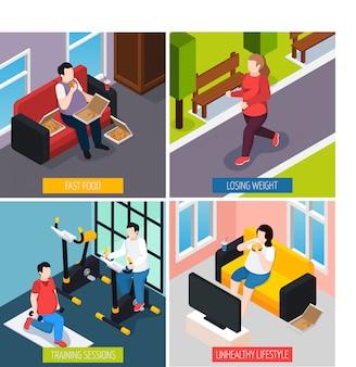 Conjunto de caracteres de concepto de personas de peso pesado