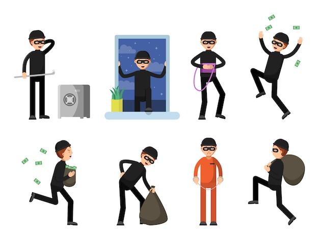 Conjunto de caracteres criminales aislar en blanco