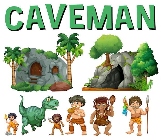 Conjunto de caracteres y cuevas para hombre de las cavernas