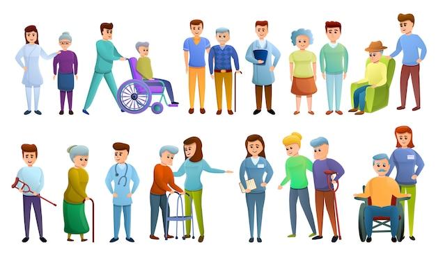 Conjunto de caracteres del cuidador, estilo de dibujos animados