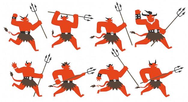 Conjunto de caracteres de demonios de acción