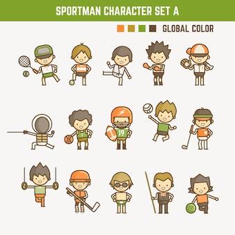 Conjunto de caracteres de deportista de contorno de dibujos animados