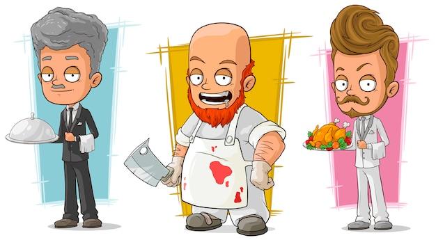 Conjunto de caracteres de dibujos animados camarero y carnicero