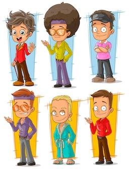 Conjunto de caracteres de dibujos animados cool retro disco dancers