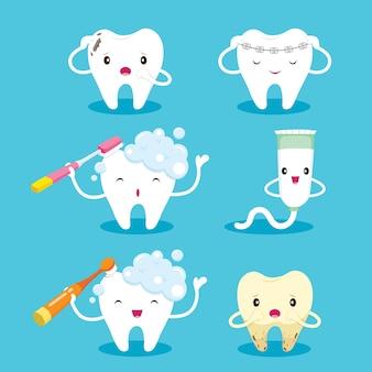 Conjunto de caracteres de dibujos animados de diente con cepillo y pasta de dientes