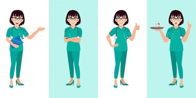 Conjunto de caracteres de dibujos animados doctora