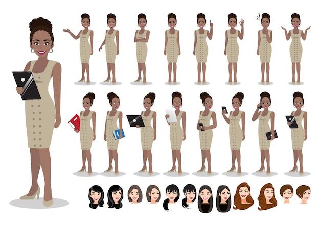 Conjunto de caracteres de dibujos animados de empresaria africana americana. mujer de negocios hermosa en vestido elegante del estilo de la oficina. ilustración