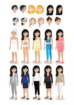Conjunto de caracteres de dibujos animados de empresaria. hermosa mujer de negocios en su estilo de vida ropa para la actividad.