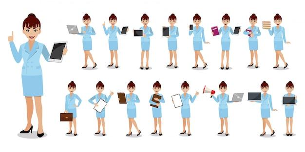 Conjunto de caracteres de dibujos animados de empresaria. ilustración
