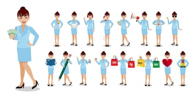 Conjunto de caracteres de dibujos animados de empresaria.