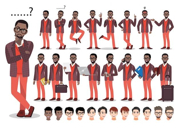 Conjunto de caracteres de dibujos animados empresario afroamericano. hombre de negocios guapo en traje elegante.