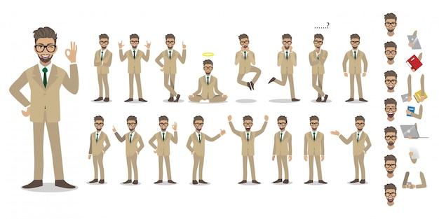 Conjunto de caracteres de dibujos animados de empresario. apuesto hombre de negocios en traje elegante de oficina.