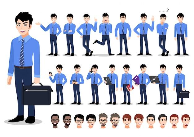 Conjunto de caracteres de dibujos animados empresario asiático. hombre de negocios guapo en camisa elegante de estilo de oficina.