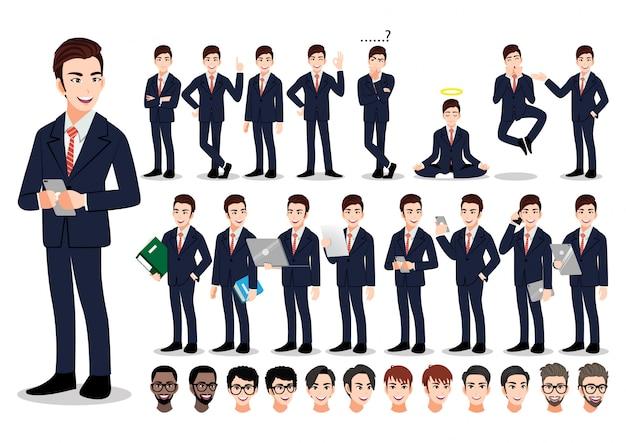 Conjunto de caracteres de dibujos animados empresario asiático. hombre de negocios guapo en traje elegante de oficina.