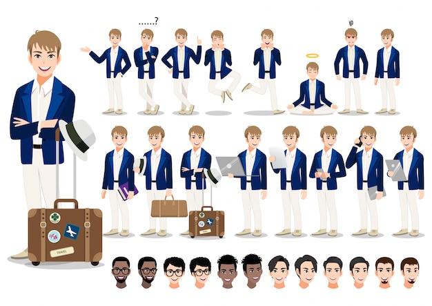 Conjunto de caracteres de dibujos animados de empresario. hombre de negocios guapo en traje elegante y clásico bolso de viaje.