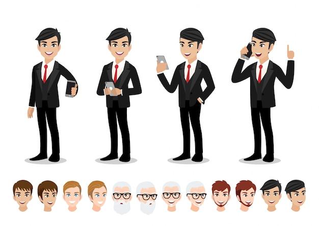 Conjunto de caracteres de dibujos animados de empresario. hombre de negocios guapo en traje elegante de oficina.
