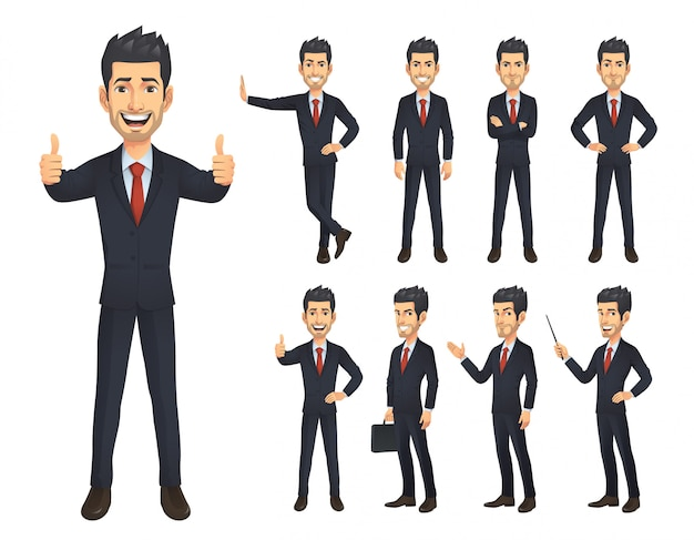 Conjunto de caracteres de dibujos animados de empresario