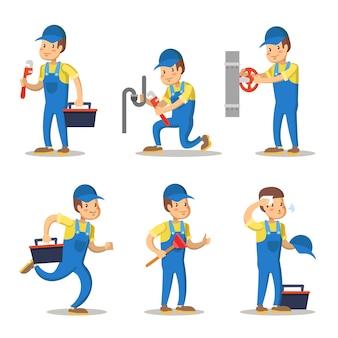 Conjunto de caracteres de dibujos animados de fontanero. reparador con llave.