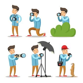 Conjunto de caracteres de dibujos animados de fotógrafo. hombre con cámara de fotos.