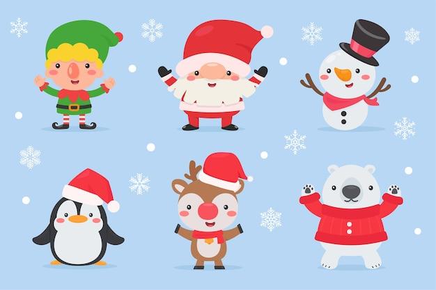 Conjunto de caracteres de dibujos animados lindo de navidad aislado en la nieve del invierno cayendo