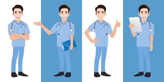 Conjunto de caracteres de dibujos animados médico masculino