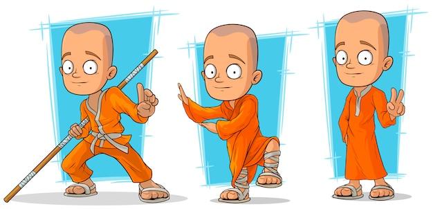 Conjunto de caracteres de dibujos animados monje budista