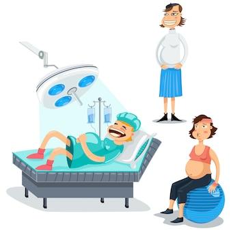 Conjunto de caracteres de dibujos animados de mujeres embarazadas.