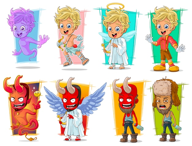 Conjunto de caracteres de dibujos animados pequeño cupido y demonio rojo