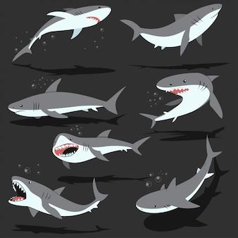 Conjunto de caracteres de dibujos animados de tiburones aislado