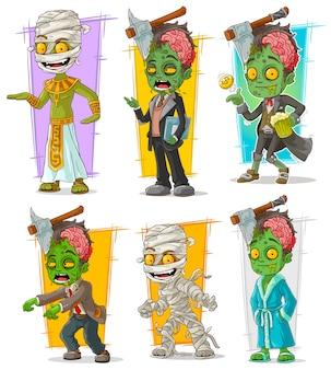 Conjunto de caracteres de dibujos animados zombie momia monstruo