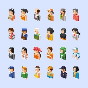 Conjunto de caracteres de diferentes personas, ilustración 3d isométrica de medio cuerpo