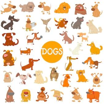 Conjunto de caracteres divertidos de perros