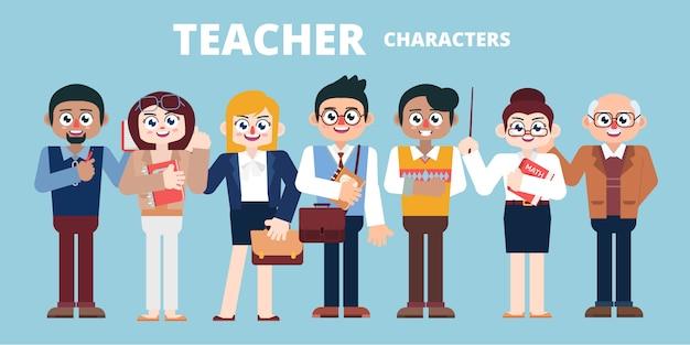 Conjunto de caracteres docentes ilustración plana