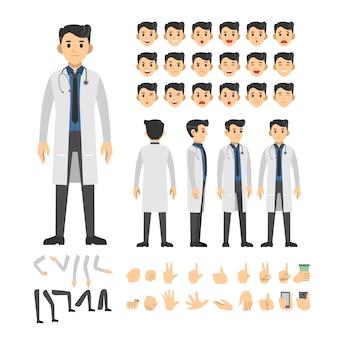 Conjunto de caracteres de doctor hombre