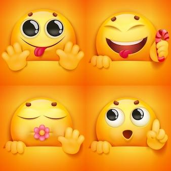 Conjunto de caracteres de emoji de carita sonriente amarilla en diversas emociones y situaciones