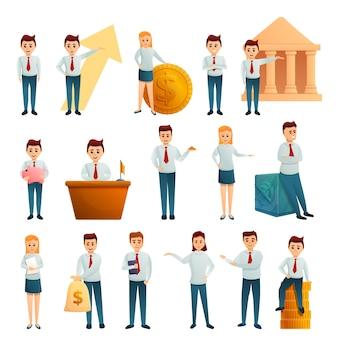 Conjunto de caracteres de empleado de banco, estilo de dibujos animados