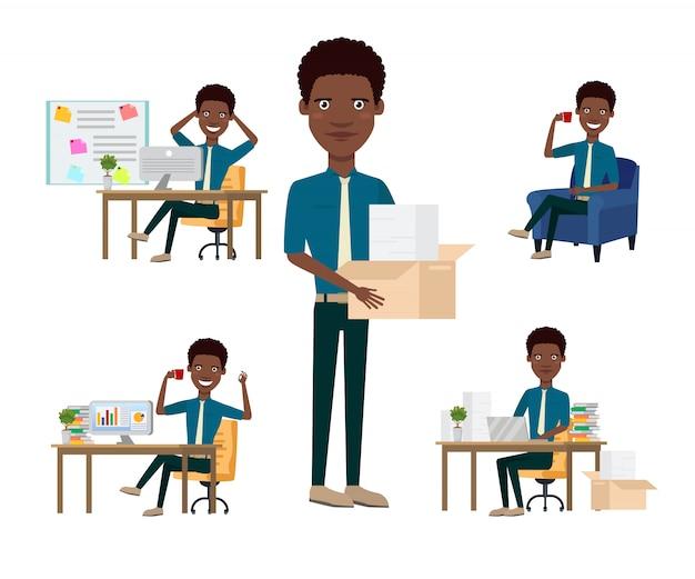Conjunto de caracteres de empleado de oficina africana con diferentes poses