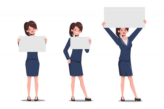 Conjunto de caracteres de la empresaria de mostrar una pancarta en blanco o papel.