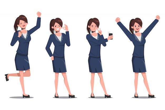 Conjunto de caracteres de la empresaria plantean en rutina de trabajo.