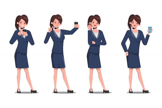 Conjunto de caracteres de la empresaria de usar el teléfono inteligente en las redes sociales y selfie. las redes sociales tienden a las personas.