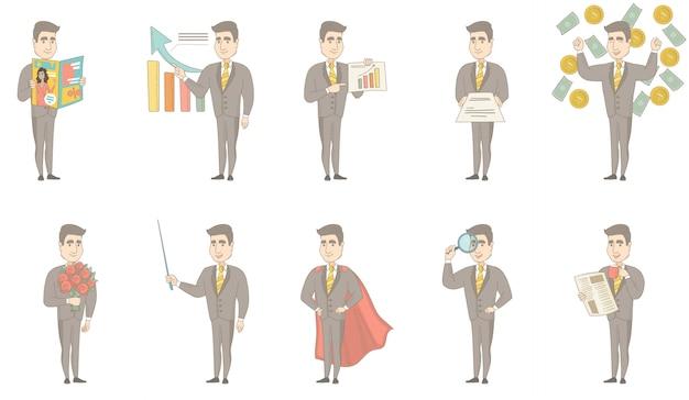 Conjunto de caracteres del empresario caucásico