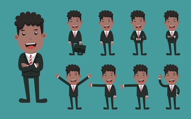 Conjunto de caracteres del empresario diferentes poses.